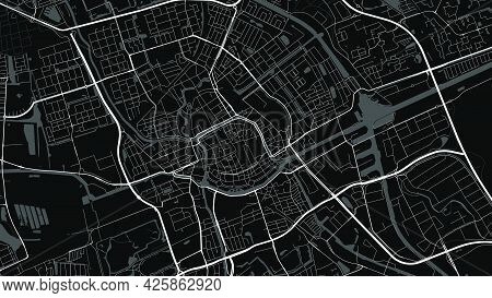 Black And White Groningen City Area Vector Background Map, Streets And Water Cartography Illustratio