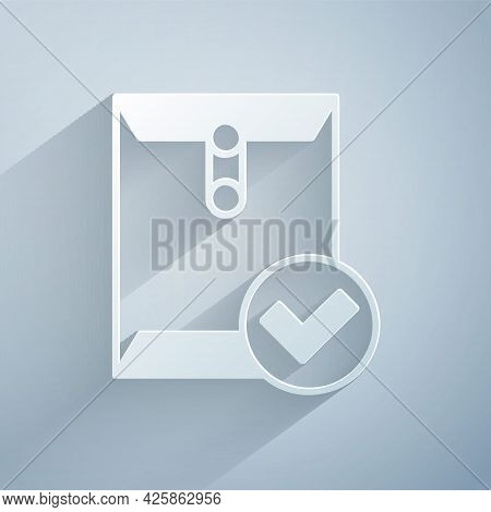 Paper Cut Envelope And Check Mark Icon Isolated On Grey Background. Successful E-mail Delivery, Emai