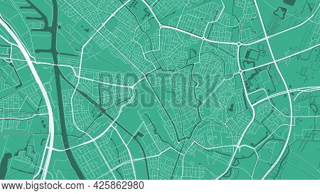 Green Utrecht City Area Vector Background Map, Streets And Water Cartography Illustration. Widescree
