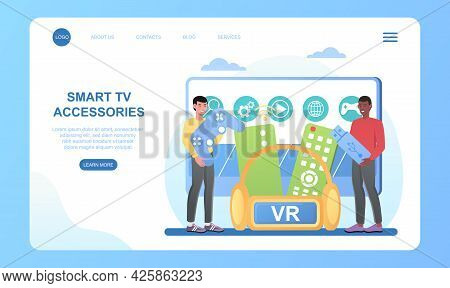 Two Male Characters Are Using Smart Television Connected To Digital Devices. Interractive Tv Enterta