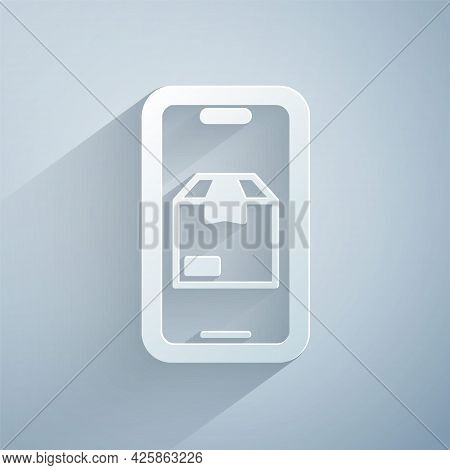Paper Cut Mobile Smart Phone With App Delivery Tracking Icon Isolated On Grey Background. Parcel Tra