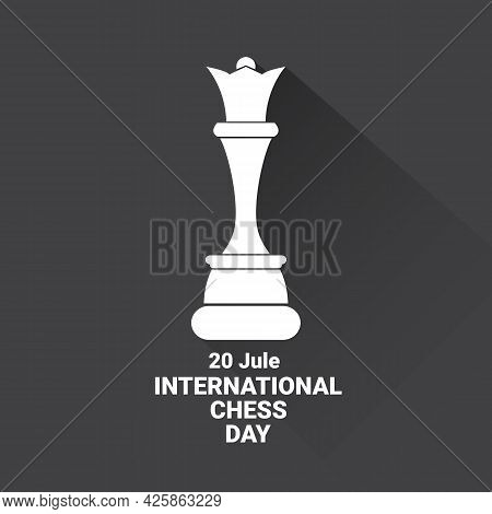 International Chess Day Background Or Poster. Vector Chess Day Banner With White Chess Figure Isolat