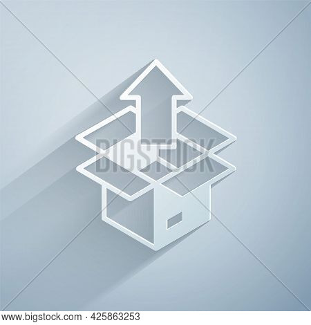 Paper Cut Unboxing Icon Isolated On Grey Background. Paper Art Style. Vector