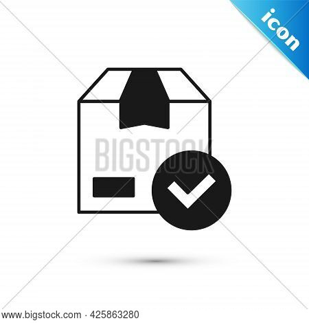 Grey Package Box With Check Mark Icon Isolated On White Background. Parcel Box With Checkmark. Appro