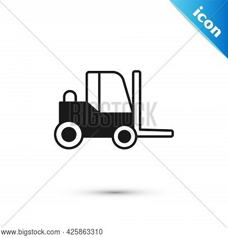 Grey Forklift Truck Icon Isolated On White Background. Fork Loader And Cardboard Box. Cargo Delivery