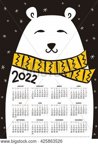 2022 Yearly Calendar Template With Cute Polar Bear. 12 Months Yearly Calendar Set In 2022. Happy New