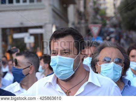 Italy : Senator And Leader Lega, Wing Right Party, Matteo Salvini,visit Salerno,july 2,2021.