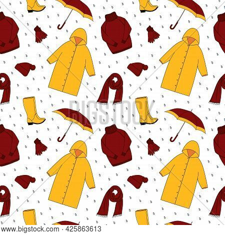 Yellow red Autumn outdoor Clothes and accessory seamless pattern. Raincoat, rubber boots, knitted sweater, scarf, hat, gloves and umbrella. Fall season, cold rainy weather. Vector cartoon background