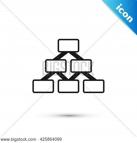 Grey Business Hierarchy Organogram Chart Infographics Icon Isolated On White Background. Corporate O