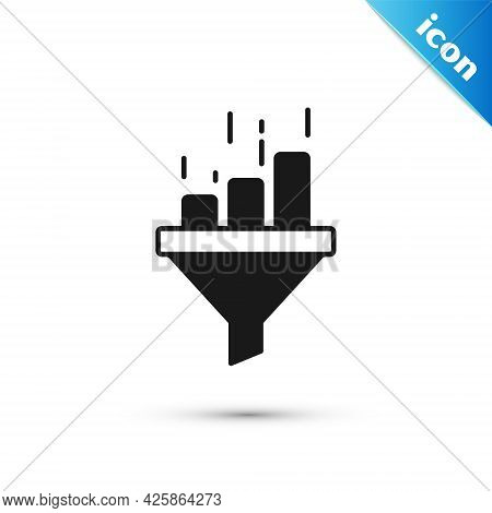 Grey Sales Funnel With Chart For Marketing And Startup Business Icon Isolated On White Background. I