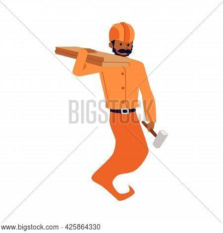 Fairy Genie Handyman Or Workman, Builder Flat Vector Illustration Isolated.