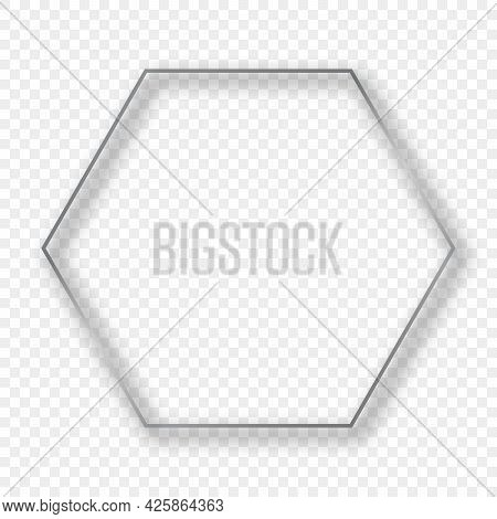 Silver Glowing Hexagon Frame With Shadow Isolated On Transparent Background. Shiny Frame With Glowin
