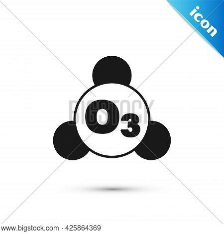Grey Ozone Molecule Icon Isolated On White Background. Ozone, O3, Trioxygen, Inorganic Molecule. Str