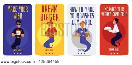 Banners With Professional Workers Look Like Genie, Flat Vector Illustration.