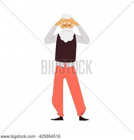 Tired Elderly Man Feels Headache Or Fatigue, Flat Vector Illustration Isolated.