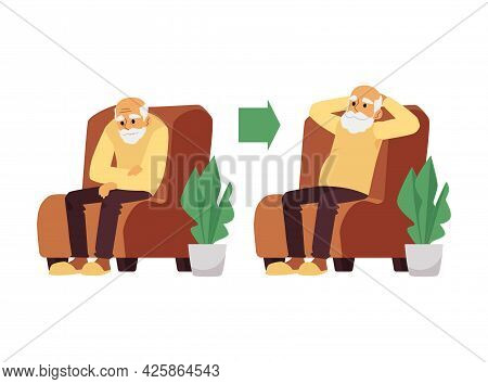 Elderly Man With Tired And Rested Expression, Flat Vector Illustration Isolated.