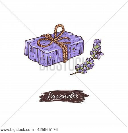 Lavender Soap With Branch Of Flowers, Hand Drawn Vector Illustration Isolated.
