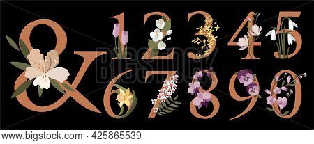Floral Botanical Numbers.numbers With Spring Flowers.collection Of Modern Art Numbers In Pastel Colo