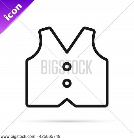 Black Line Waistcoat Icon Isolated On White Background. Classic Vest. Formal Wear For Men. Vector
