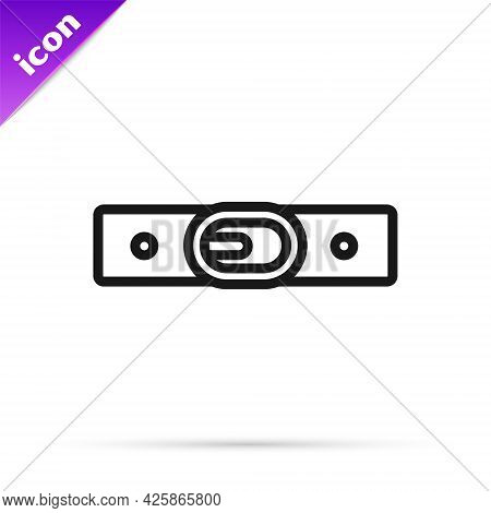 Black Line Leather Belt With Buttoned Steel Buckle Icon Isolated On White Background. Vector