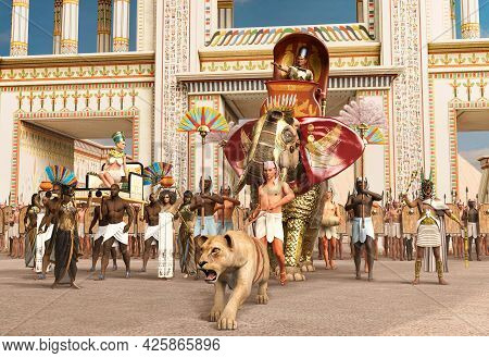 Egyptian Pharaoh Parading A War Elephant Through His Capital City Accompanied By His Queen, Priests