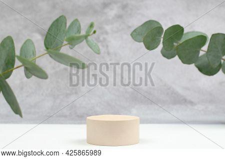Empty Round Podium For Advertising Cosmetic Products. Gypsum Podium And Eucalyptus On The Background