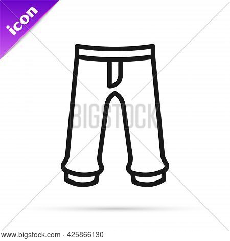 Black Line Pants Icon Isolated On White Background. Trousers Sign. Vector