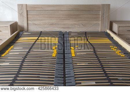 Slatted Base, Wooden Element Double Bed Frame Close Up In Bedroom Orthopedic