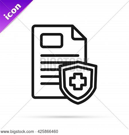 Black Line Medical Clipboard With Clinical Record Icon Isolated On White Background. Prescription, M
