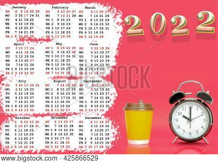 Calendar For 2022 With Us Holidays, Calendar With A Picture Of A Clock. Calendar With Black Clock