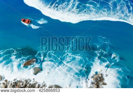 Resin Art Painting With Blue Ocean Waves, Boat And Stone Beach. Epoxy Art Composition