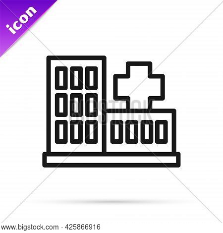 Black Line Medical Hospital Building With Cross Icon Isolated On White Background. Medical Center. H
