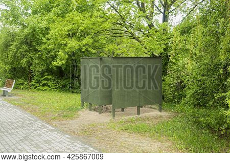 Public Changing Room, For Changing Clothes On The Beach. Dressing Booth In A Deserted Place, Next To