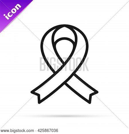 Black Line Awareness Ribbon Icon Isolated On White Background. Public Awareness To Disability, Medic