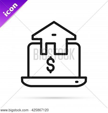 Black Line Online Real Estate House In Browser Icon Isolated On White Background. Home Loan Concept,