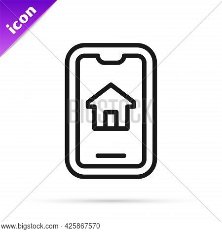 Black Line Online Real Estate House On Smartphone Icon Isolated On White Background. Home Loan Conce