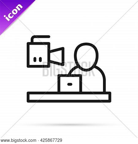 Black Line Breaking News Icon Isolated On White Background. News On Television. News Anchor Broadcas