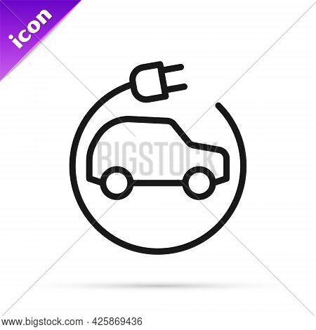 Black Line Electric Car And Electrical Cable Plug Charging Icon Isolated On White Background. Renewa