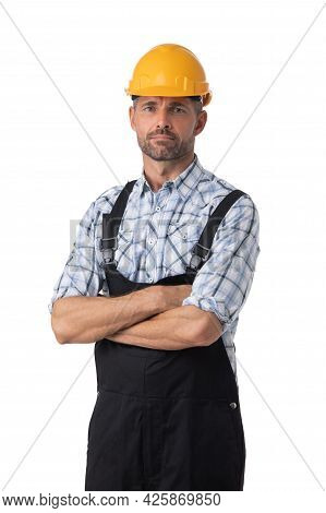 Portrait Of A Workman In Coveralls And Yellow Hardhat Isolated On White Background