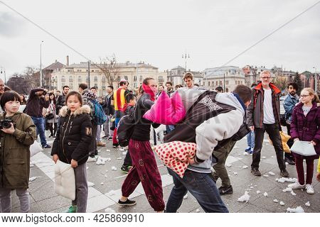 Budapest April 07, 2018: Group Of People Participate In Pillow Fight On International Pillow Fight D
