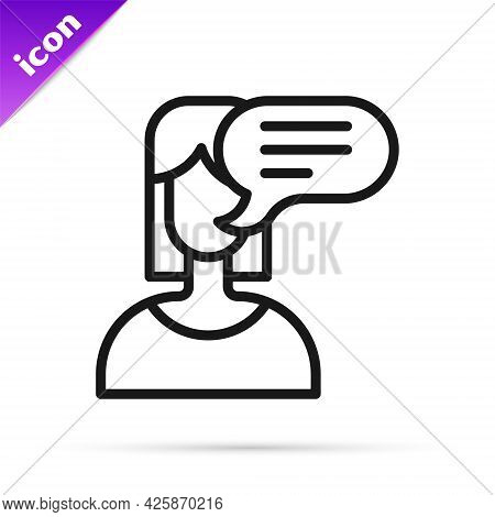 Black Line Female Opinion Icon Isolated On White Background. Vector