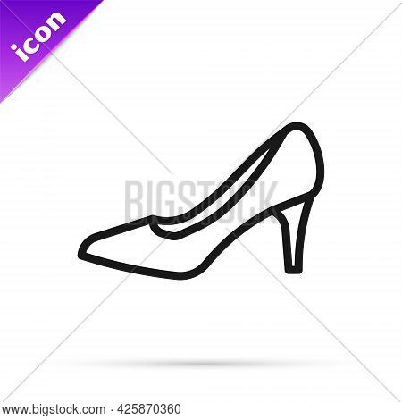 Black Line Woman Shoe With High Heel Icon Isolated On White Background. Vector