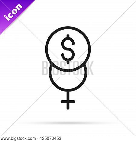 Black Line Feminism Finance Icon Isolated On White Background. Fight For Freedom, Independence, Equa