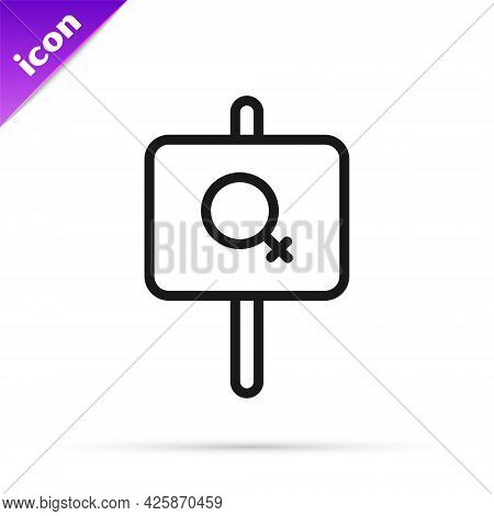 Black Line Female Movement, Feminist Activist With Banner And Placards Icon Isolated On White Backgr