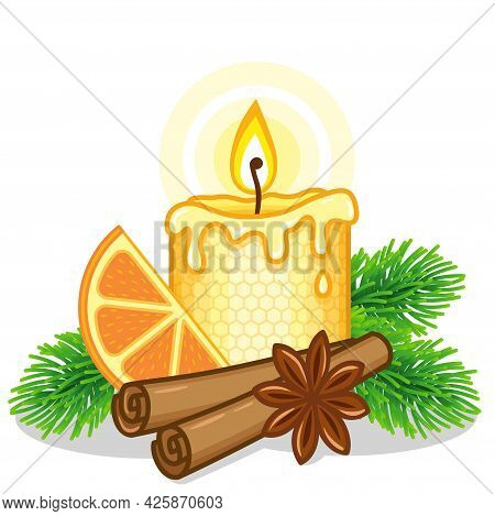Yellow Christma Candle With A Christmas Tree Branch, Orange And Cinnamon Sticks. Burning Beeswax Can