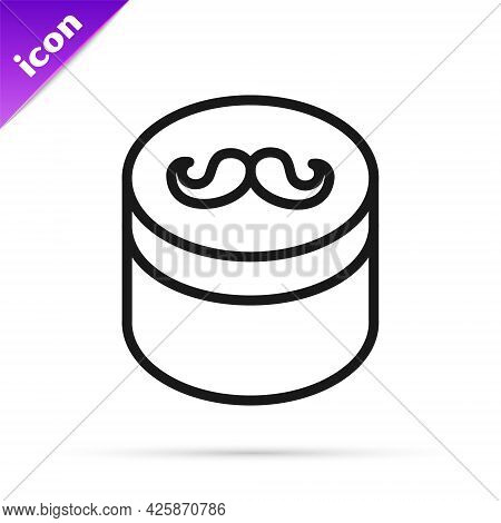 Black Line Gel Or Wax For Hair Styling Icon Isolated On White Background. Hair Cosmetic. Jar With Pr