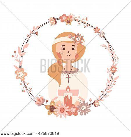 Little Girl First Communion Day Religious Catholic Celebration