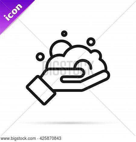 Black Line Shaving Gel Foam On Hand Icon Isolated On White Background. Shaving Cream. Vector