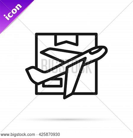 Black Line Plane And Cardboard Box Icon Isolated On White Background. Delivery, Transportation. Carg
