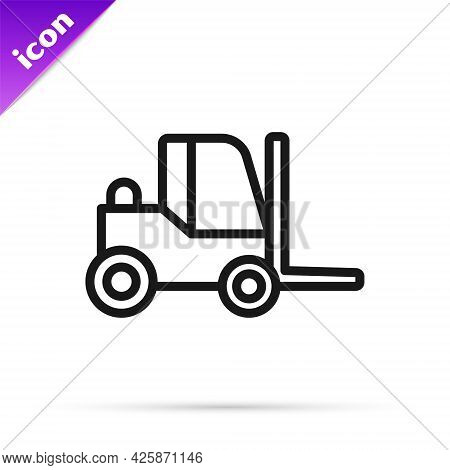 Black Line Forklift Truck Icon Isolated On White Background. Fork Loader And Cardboard Box. Cargo De
